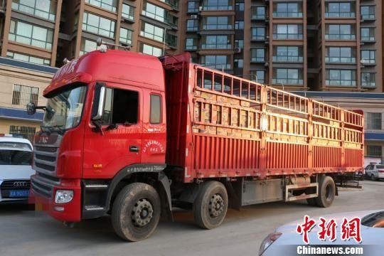 警方查获运输毒品的大货车一辆及伪装物香蕉八吨。 苟宏伟 摄