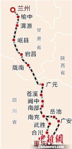 兰渝铁路线运行线路图。 网络图 摄