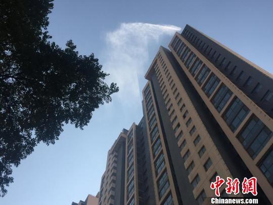 喷洒可以将漂浮在高空的粉尘颗粒吸附、沉降,达到消除污染物的效果。 杜萍 摄