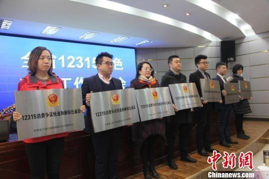 甘肃省12315绿色通道工作会议18日在兰州举行。会上,为甘肃苏宁云商销售有限公司、中国移动甘肃省分公司等单位颁发了绿色通道成员单位标志牌,并与12315绿色通道成员单位签订了《12315消费争议快速和解绿色通道工作协议》。 史静静 摄