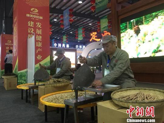 资料图:甘肃本地药企员工加工中药材。 刘玉桃 摄