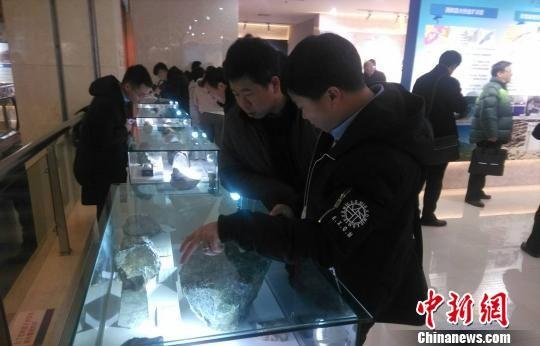 """1月11日,""""十二五""""甘肃省国土资源厅地质勘查成果交流会在兰州举行。图为活动现场,参观者对矿产样石进行讨论。 艾庆龙 摄"""