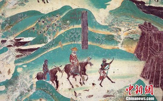 图为莫高窟第217窟―春山踏青(盛唐)。敦煌研究院供图