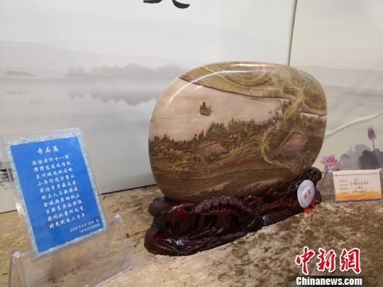 图为河南省郑州藏友陈宗杰展出的黄河石《兰州黄河金城关》。 刘薛梅 摄
