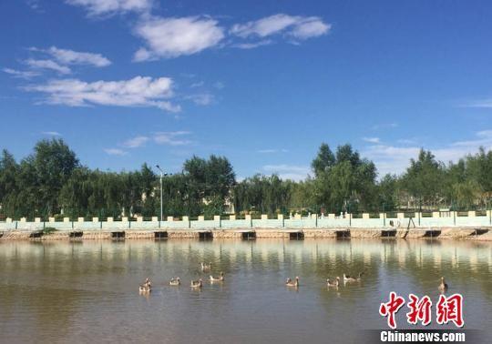 """金水源""""丝路驿站""""沙漠绿色景区的景观水系,如同城市中的公园。 侯志雄 摄"""