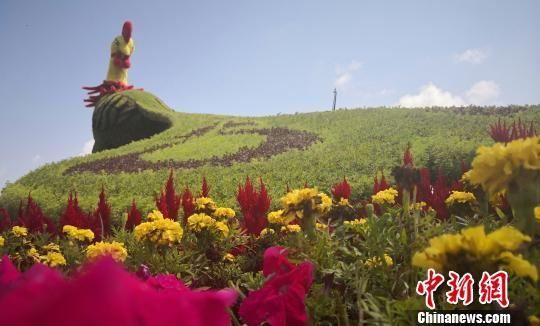 图为兰州新区公路旁设置的创意花卉景观。 魏建军 摄