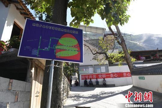 图为果者村里路旁的墙上、果树上,多处贴有逃生标示。 杨艳敏 摄