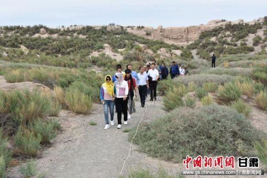 图为游客体验锁阳城穿城之旅。
