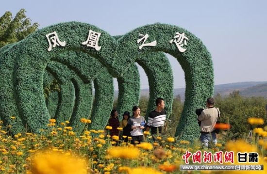 图为游客在泾川县城关镇锦绣凤凰旅游景区游玩。 吴希会 摄