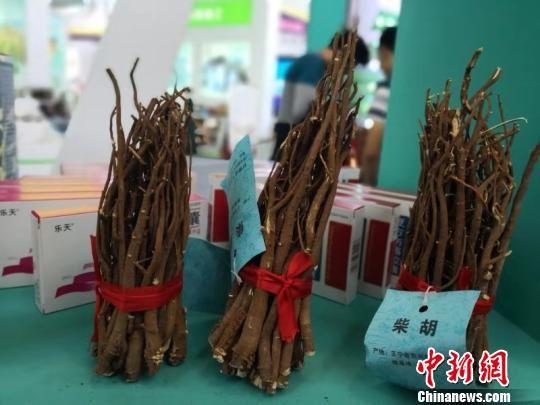 图为2018中国(甘肃)中医药产业博览会上展出中药材。 李亚龙 摄