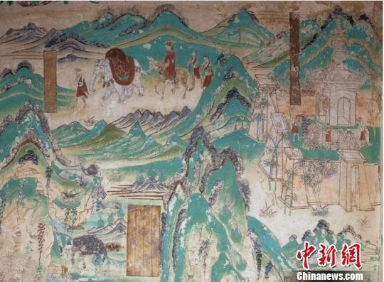 图为莫高窟第103窟盛唐时期《山中行旅》,讲述古人亲近自然养生。 敦煌研究院供图 摄
