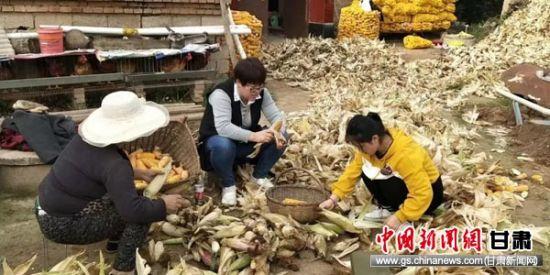 渭源县税务干部与帮扶户同劳动。