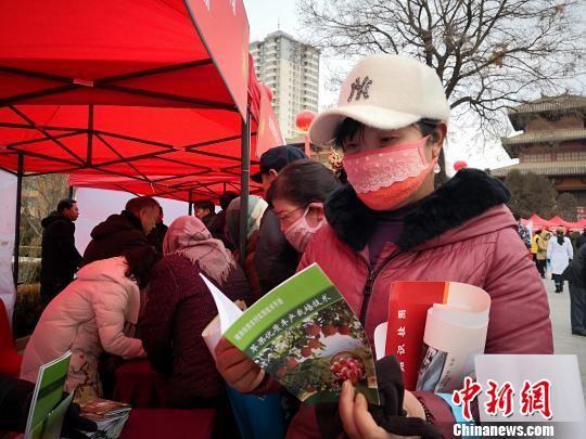 图为民众看免费领到的苹果栽植相关书籍。 魏建军 摄