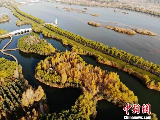 甘肃张掖市高台县戈壁上的黑河湿地。(资料图) 杨艳敏 摄