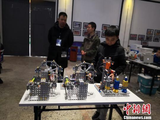图为参赛的小学生展示作品。 杨娜 摄