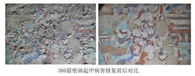 莫高窟386窟壁画起甲病害修复前后对比。图片来源:新京报