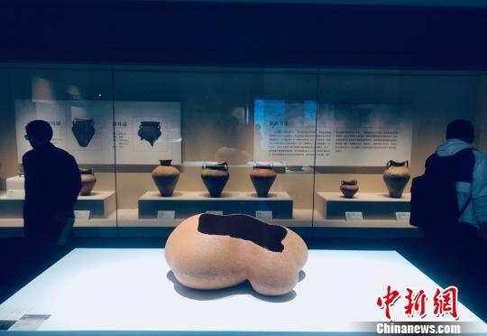 """多国当代陶艺作品与马家窑古人陶器作品同时空隔玻璃相望""""竞艳"""" 。 艾庆龙 摄"""