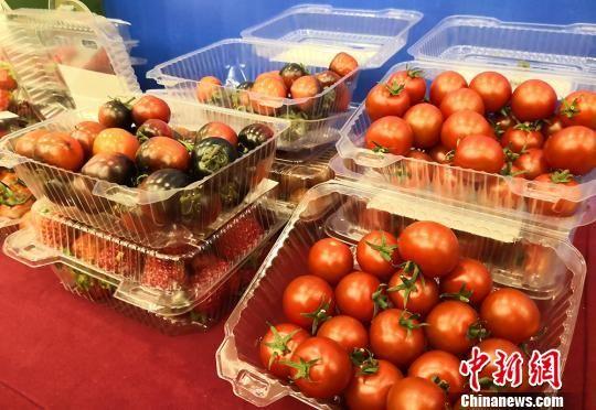 图为甘肃企业在兰洽会上展出农产品。 刘玉桃 摄
