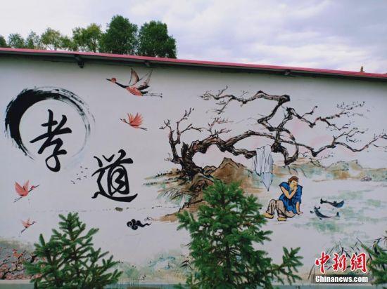 文化墙成了一道乡村风景线。