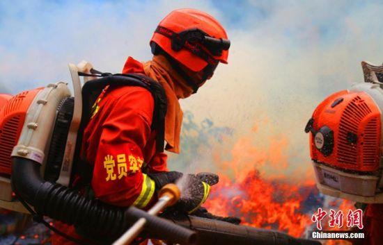 森林消防员近距离直流喷射灭火作业。 裴海博 摄