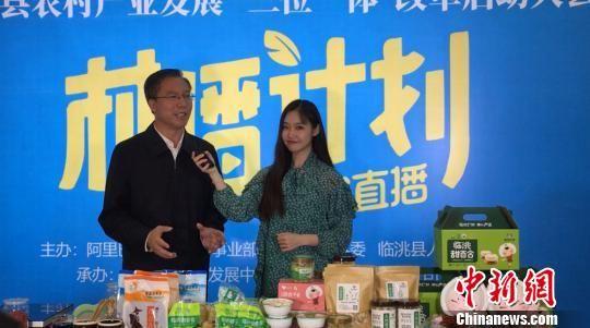 图为临洮县委书记石琳与网红主播现场互动直播,推介当地农产品。 张婧 摄