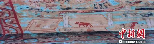 图为敦煌壁画中的耕作图。 闫姣 摄