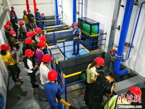 在兰州石化公司厂区里,经过处理后的污水水质晶莹剔透还能养金鱼。(资料图) 刘延治 摄