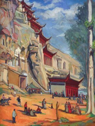 常书鸿油画《敦煌四月初八庙会》(《此生只为守敦煌:常书鸿传》书中插图)。