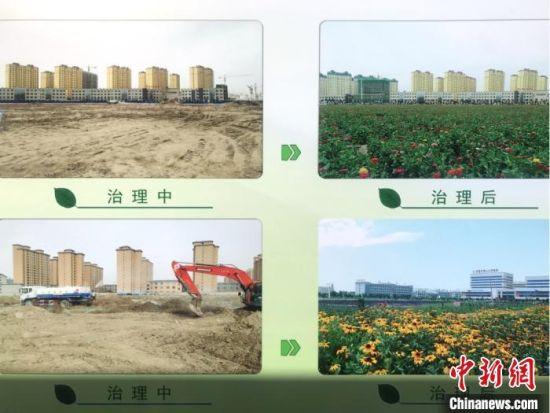 图为甘肃甘州区实施裸露土地美化绿化项目的前后对比图。 闫姣 摄