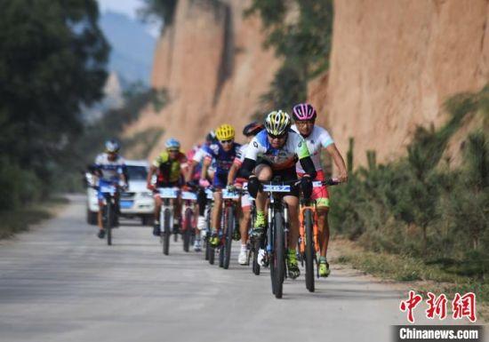 图为中外自行车选手在甘肃合水县秦直古道上骑行。(资料图) 杨艳敏 摄