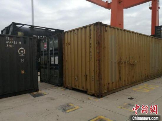 图为棉花集装箱。甘肃(兰州)国际陆港供图