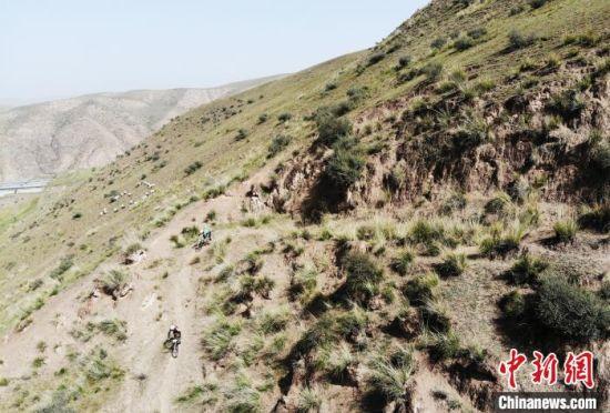 图为骑手们在甘肃武威市天祝县境内的祁连山赛道竞速。 杨艳敏 摄