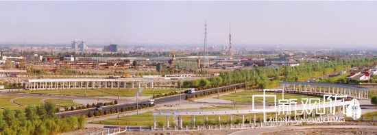 酒泉经济技术开发区南郊园全景图。