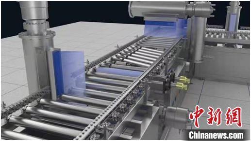 图为利用电子帘加速器装置对冷链食品外包装箱进行消杀工作的示意图。中科院近物所供图