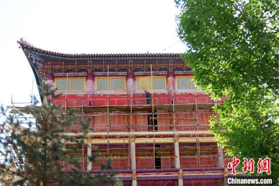 图为5月上旬,甘肃山丹县大佛寺内,工作人员对古建筑大雄宝殿进行修缮。 中新社记者 高展 摄
