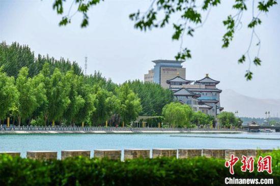6月上旬,敦煌市党河风情线绿意葱葱,美景如画。 王斌银 摄