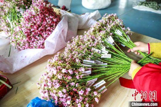 图为村民制作的仿真花。(资料图) 魏建军 摄
