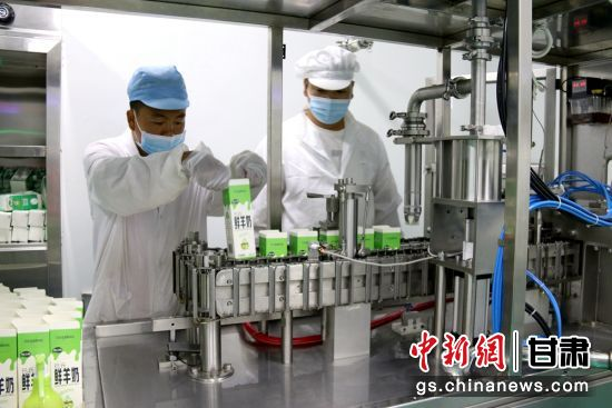 �D�楦拭C�r之�乳�I有限公司工作人�T包�b�r羊奶。