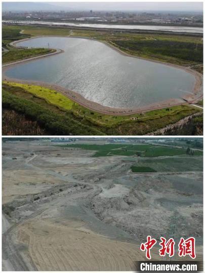 图为甘州区砂石滩景象拼图,曾经(下)和现在(上)。 杨艳敏 摄