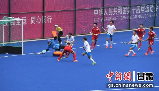 9月15日,第十四届全运会男子曲棍球比赛在西安体育学院�邑校区举行。