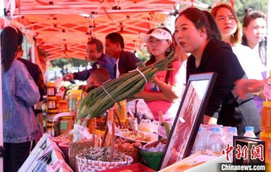 图为活动现场,村民展示自家种植的各类农产品。 秦亭镇政府供图