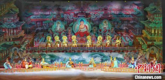 《玄奘西行》集合了当今民族管弦乐队的常用乐器、敦煌复原乐器、新疆传统乐器、印度传统乐器。图为剧照。 甘肃省文化和旅游厅供图