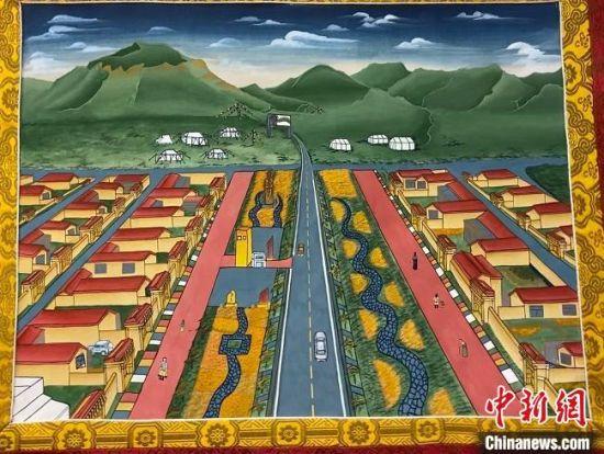 图为描绘夏河县景象的唐卡作品 。 宋子昕 摄