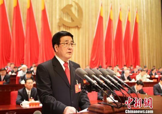甘肃省委书记林铎代表中共甘肃省第十二届委员会作报告。 钟欣 摄