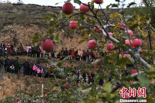 清水县山区农民围观网络直播。 杨艳敏 摄