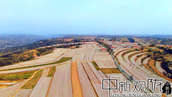 黄土高原崆峒大地旱作农业春种忙 地膜环山如